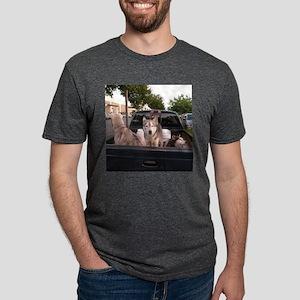 Siberian huskies in a green Dodge pickup t T-Shirt