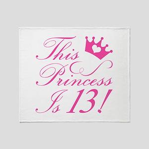 13th Birthday Princess Throw Blanket