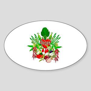 Vegan Heart and Vegetables Sticker (Oval)