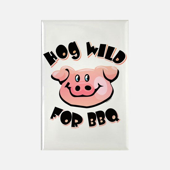 Hog Wild For BBQ Rectangle Magnet