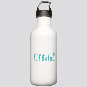Uffda turquoise text Water Bottle