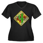 Cactus 4 Wheelers Women's V-Neck Plus Size T-S
