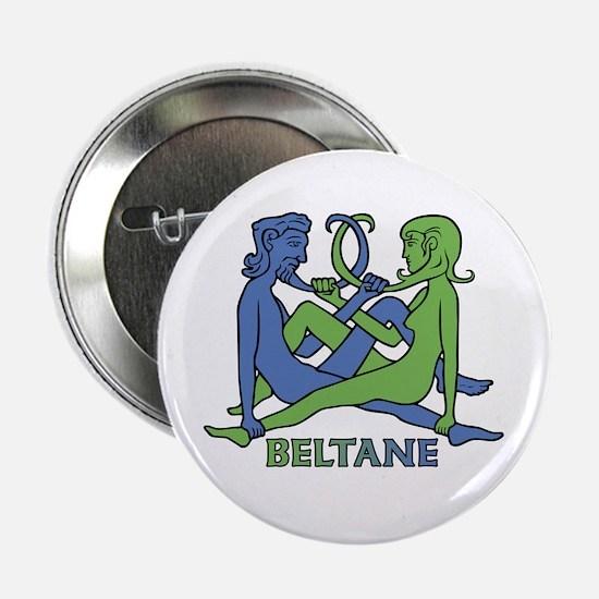 """Beltane Knot 2.25"""" Button (blue/green)"""