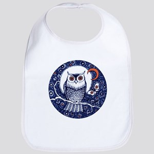 Blue Owl with Moon and Moth Baby Bib