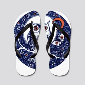 Blue Owl with Moon and Moth Flip Flops