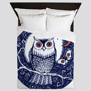 Blue Owl with Moon and Moth Queen Duvet