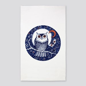 Blue Owl with Moon and Moth Area Rug