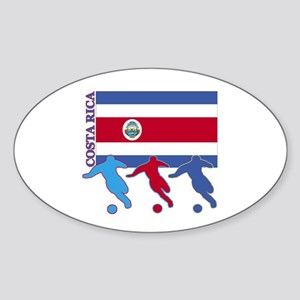Soccer Costa Rica Oval Sticker (10 pk)