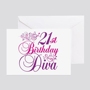 21st Birthday Diva Greeting Cards (Pk of 20)