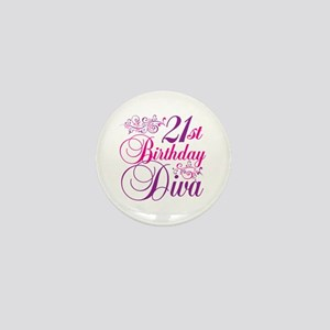 21st Birthday Diva Mini Button