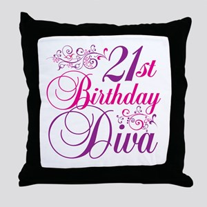 21st Birthday Diva Throw Pillow