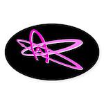 ATHEIST SYMBOL PINK DARK Oval Sticker
