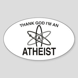 THANK GOD I'M ATHEIST Oval Sticker