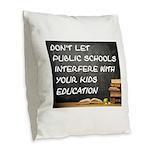PUBLIC SCHOOLS Burlap Throw Pillow