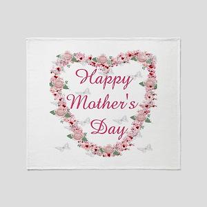 Cherry Blossom Heart For Mom Throw Blanket