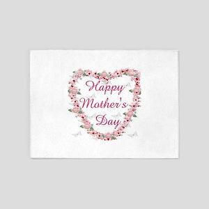 Cherry Blossom Heart For Mom 5'x7'Area Rug