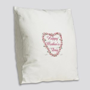Cherry Blossom Heart For Mom Burlap Throw Pillow