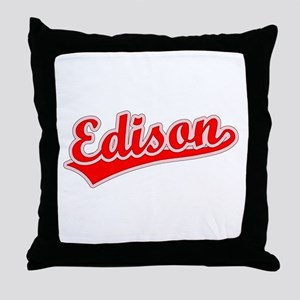Retro Edison (Red) Throw Pillow