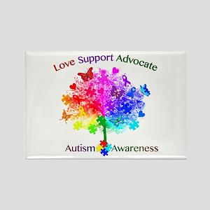 Autism Rainbow Tree Rectangle Magnet