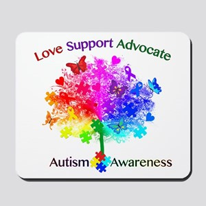 Autism Rainbow Tree Mousepad