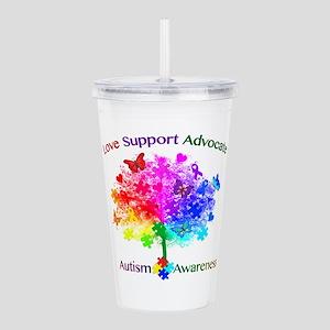 Autism Rainbow Tree Acrylic Double-wall Tumbler