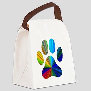 10 x 10 rainbow paw Canvas Lunch Bag
