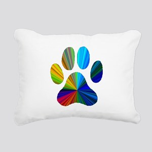 10 x 10 rainbow paw Rectangular Canvas Pillow