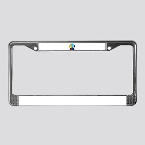 10 x 10 rainbow paw License Plate Frame