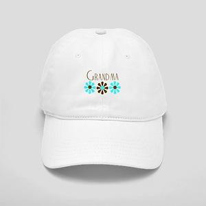 Grandma - Blue/Brown Flowers Cap