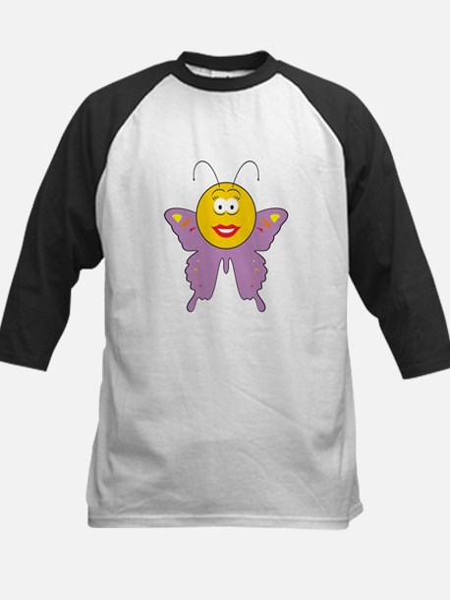 Butterfly Smiley Face Kids Baseball Jersey
