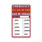 Emergency Fire Save My Pets Rectangle Sticker 50