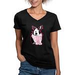 Bunny Doesn't Like You Women's V-Neck Dark T-Shirt