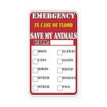 Emergency Flood Save my Pets Rectangle Sticker 50