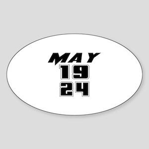 May 1924 Birthday Sticker (Oval)