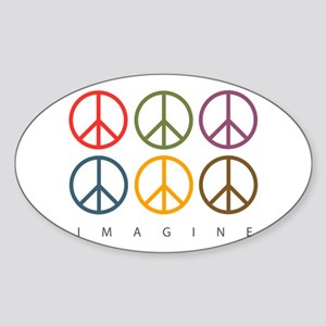 Imagine - Six Signs of Peace Oval Sticker