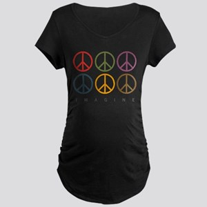 Imagine - Six Signs of Peace Maternity Dark T-Shir