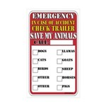 Emergency Accident Save My Pets Rectangle Sticker