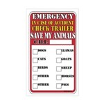 Emergency Accident Save My Pets Sticker (Rectangle