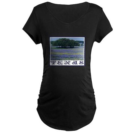 Texas Bluebonnets Maternity Dark T-Shirt