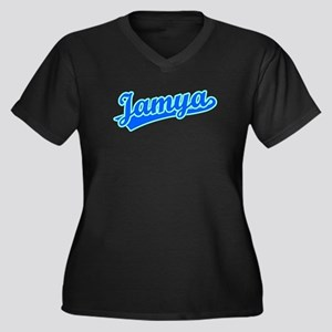 Retro Jamya (Blue) Women's Plus Size V-Neck Dark T