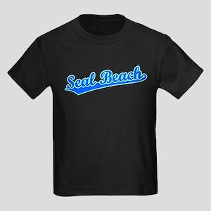 Retro Seal Beach (Blue) Kids Dark T-Shirt