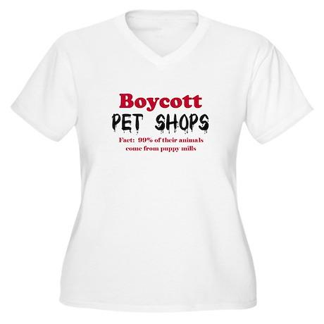 Boycott Pet Shops Women's Plus Size V-Neck T-Shirt