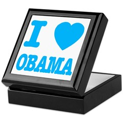 I Love Obama Baby Blue Keepsake Box