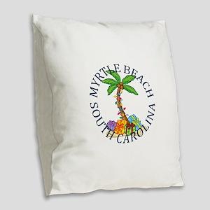 Summer myrtle beach- south car Burlap Throw Pillow