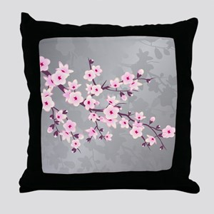 Cherry Blossoms Pink Gray Shimmering Throw Pillow