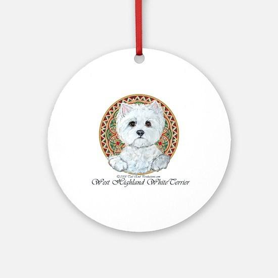Westie Medallion Terrier Ornament (Round)