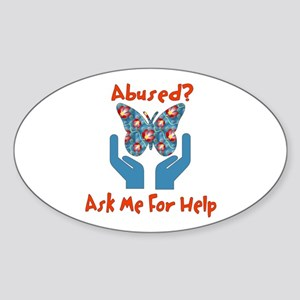 Domestic Violence Help Oval Sticker