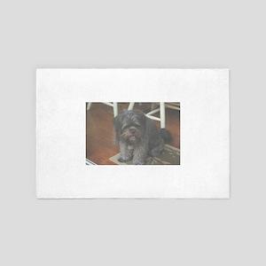 happy dark dog at party 4' x 6' Rug