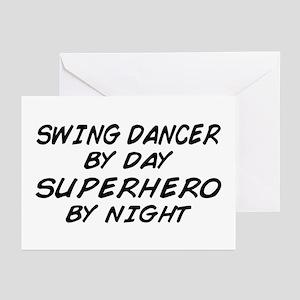Swing Dancer Superhero by Night Greeting Cards (Pk