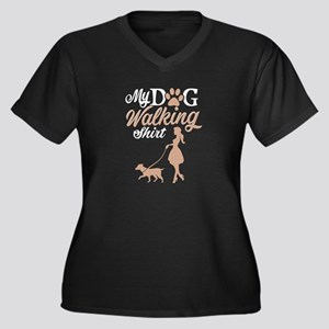 Dog Walking - A dog walking shir Plus Size T-Shirt